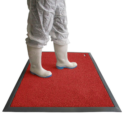 Red disinfecting rugs